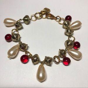 Red glass pearl tear drop charm gold bracelet